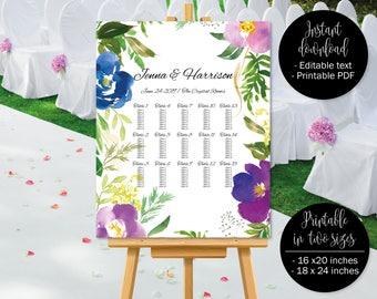 Wedding Seating Chart Template, Stylish Floral Watercolor Wedding Seat Plan Printable, Wedding Table Plan Seating Chart, Border 5 SEATING-5