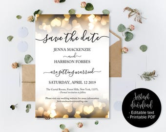 Gold Save the Date, Gold Wedding Hearts, Save the Date, Wedding Save the Date Template, Save the Date Cards, Save the Date Wedding Printable