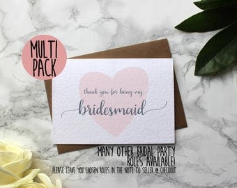 MULTI PACK Thank You For Being My Bridesmaid - Bridesmaid Thank You - Bridal Party Thank You - Maid of Honour Thank You - Flower Girl Card