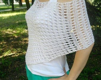 Hand knitted poncho Summer poncho White beach cover up, summer knit poncho, linen cover up, women ponchos, swimsuit knit cover