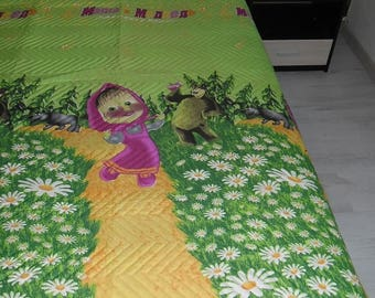 Luxurious quilted bed cover from cotton for children -CAN BE USED from both sides