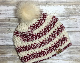 FREE SHIPPING Red and White Bulky Beanie with Faux Fur PomPom