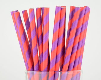 Red and Purple Striped Paper Straws - Party Decor Supply - Cake Pop Sticks - Party Favor