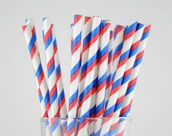 Blue/Red Striped Paper Straws - Party Decor Supply - Cake Pop Sticks - Party Favor