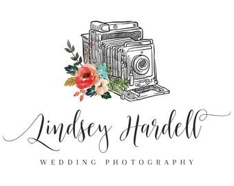 Premade watercolor logo design, photography logo, floral logo design, watercolor flowers, branding template, photo camera logo, handwritten