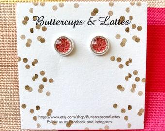 Small Red Lotus Flower Stud Earrings 8mm