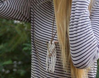 Bronze & Copper Winter White Arrow Necklace