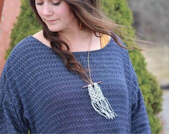 Bronze & Linen Dove Gray Minimalist Necklace