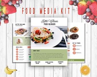 Food Media Kit Template 3 Page, Blog Media Press Kit Template, Blogger Media Kit, Psd, Docx, ai,Personalized - INSTANT DOWNLOAD