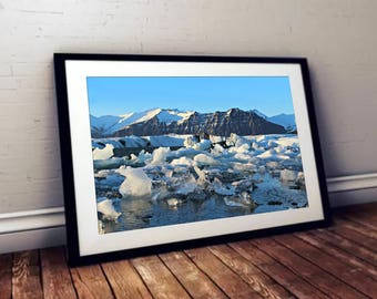 Iceland Ice Lagoon Landscape Photo Print - High Quality Digital Download for Wall Art