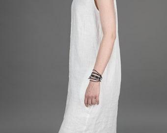 White modern sleeveless handmade linen shirt dress with pockets