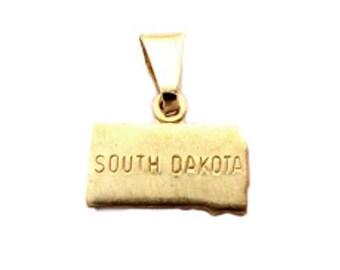 6 South Dakota State Pendants Tiny Raw Brass with Bail