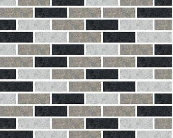 Pack of 10 Black grey subway mosaic tile stickers transfers, with added gloss affect, just peel and stick, bathroom kitchen