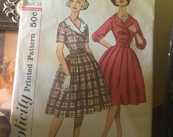 VTG 1960's Simplicity Pattern #3278 junior and misses' dress & detachable Collar