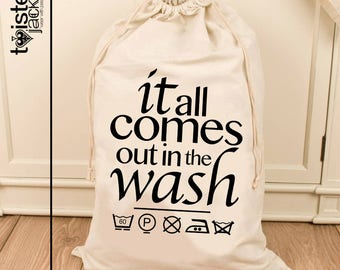 Large Printed  Bag - Natural Material - Chic Design 'it all comes out in the wash' -  Hand Printed