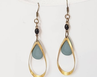Earrings drops gold, black and verdigris. Modern geometric earrings, mix of colors and textures