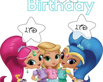 Happy Birthday Shimmer and Shine Iron On Transfer