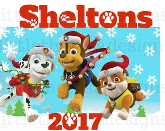 Paw Patrol Family Christmas  Transfer,Digital Transfer,Digital Iron On,Diy