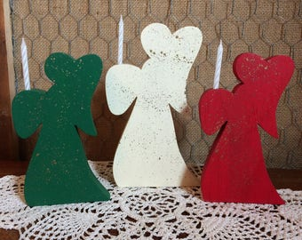 Wooden Angel Candleholders