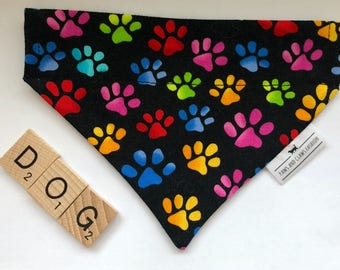 Over the collar cat or dog bandana - multi coloures dog paws - FREE SHIPPING
