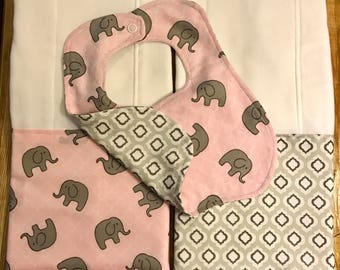 Baby girl pink and gray elephant burp cloth and bib set
