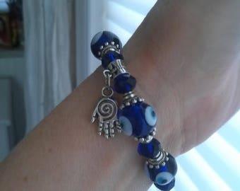 Fatima hand charm, amulet, evil eye protection bracelet, stretch bracelet