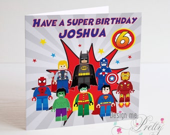 Lego Marvel and Comic Book Characters Personalised birthday card