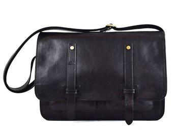 Vegetable Tanned Genuine Leather Messenger Bag