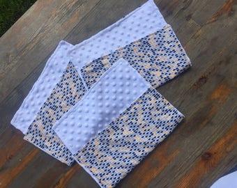 Handmade Scalloped Baby Burp Cloths Set of Three