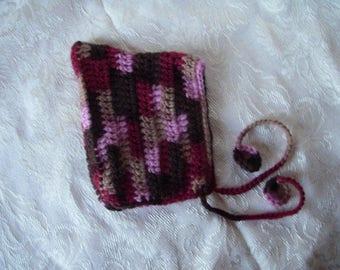 Chocolate Cherry Preemie Crochet Pixie Hat Newborn Photography Prop