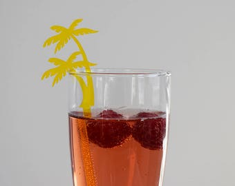 Acrylic Palm Tree Drink Stirrers | Set of 6 | Parties | Events | Holidays | Wedding | Engagement | Shower | Decor | Acrylic | Laser Cut