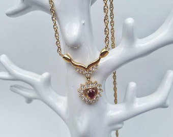Gorgeous red and crystal gold heart pendant necklace