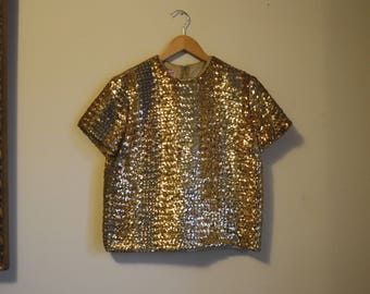 1950's Gold and Silver Sequined Top Size Small