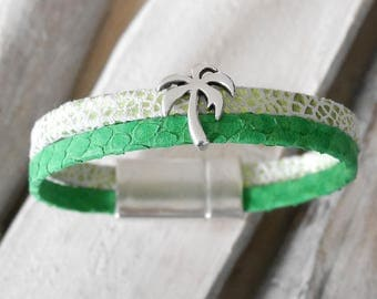 Bright green, lime green and white leather strap broken, passing Palm (BR72vert))