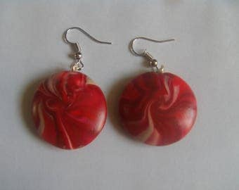 Earrings in polymer clay swirl beads