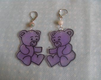 Purple bears shrink plastic earrings