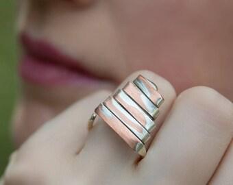 Cocktail ring, Silver ring, Metal ring, Copper jewelry, Vegan jewelry, Art ring, Copper ring, Adjustable ring, Minimalist ring, Symbol ring
