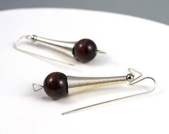 Stone earrings, Brown earrings, Brown jewelry, Sphere earrings, Silver earrings, Steel earring, Silver jewelry, Steel jewelry, Gift for her