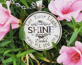 Let Your Light Shine for All to See Matthew 5:16 Personalized Name or Date or Blank Bible Verse Scripture Necklace Pendant