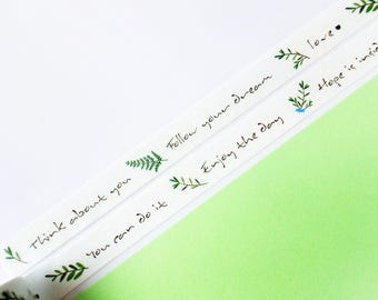 Hand Drawn Blessing Washi Masking Tape - Motivational, Calligraphy, Planner, Scrapbook, Craft