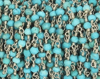 50% off 5 Feet Beautiful Turquoise Beaded Chain 3-3.5mm Rosary Chain, Turquoise Beaded 925 Silver Plated Wire Wrapped Chain CH122