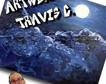 Midnight Moon, Artwork by Travis C, 11 x 17 Print