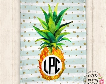Monogram Personalized Pineapple Blanket - Receiving Blanket Birthday Gift with Pineapple Print - 30x40, 50x60, 60x80