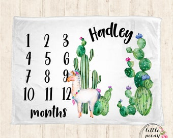 Monthly Milestone Blanket - Personalized Baby Blanket - Milestone Blanket - Cactus Llama Baby Blanket - Cactus Baby Blanket- Llama Blanket