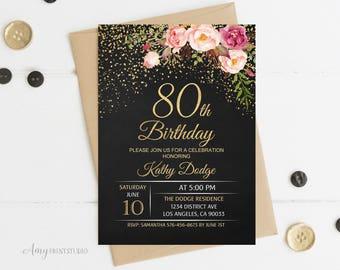 80th Birthday Invitation, Floral Women Birthday Invitation, Chalkboard Birthday Invite, PERSONALIZED, Digital file, #W16