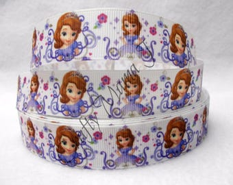 """SALE Sofia the First Disney Princess on 7/8"""" Grosgrain Ribbon by the yard. Choose 3, 5, or 10 yards."""