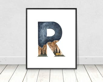 Printable Letter R Alphabet Watercolor Art Print- Wilderness Woodland Nursery Room Decor- ABC Alphabet Camping Art For Nursery Room