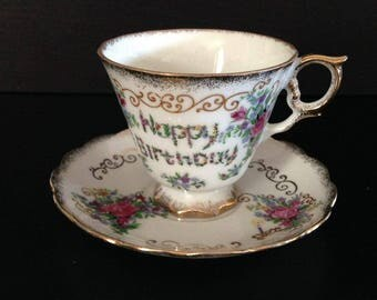 Happy birthday tea cup and saucer set, made in Japan