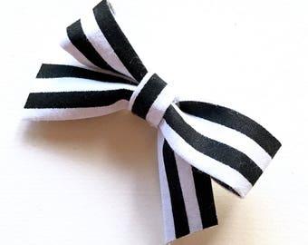 Black & White Striped Sailor Bow