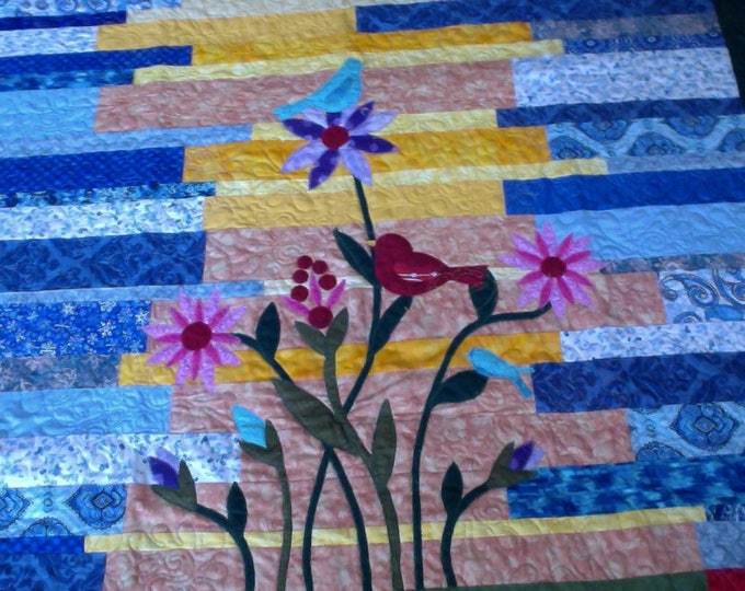 Spring Flowers and Birds Patchwork and Applique' Quilt, Spring Flowers Quilt, Garden Quilt, Applique Flowers Quilt, Abstract Floral Quilt